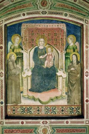 Madonna Enthroned with St. Francis of Assisi, St. Clare and Two Angels- Master Of Figline-Stretched Canvas Print