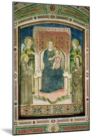 Madonna Enthroned with St. Francis of Assisi, St. Clare and Two Angels- Master Of Figline-Mounted Giclee Print