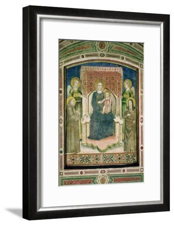 Madonna Enthroned with St. Francis of Assisi, St. Clare and Two Angels- Master Of Figline-Framed Giclee Print