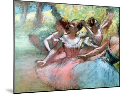 Four Ballerinas on the Stage-Edgar Degas-Mounted Giclee Print