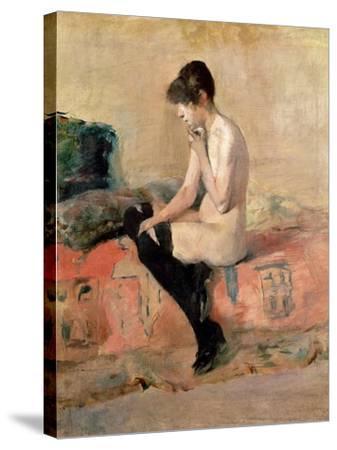 Nude Woman Seated on a Divan, 1881-Henri de Toulouse-Lautrec-Stretched Canvas Print