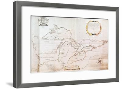 Map of the Great Lakes- Jolliet-Framed Giclee Print
