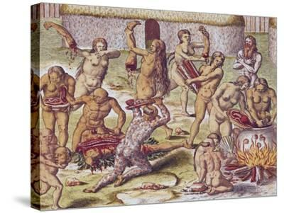 """Dismembering and Cooking an Enemy, from """"Americae Tertia Pars.."""", 1562-Theodor de Bry-Stretched Canvas Print"""