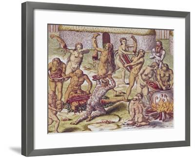 """Dismembering and Cooking an Enemy, from """"Americae Tertia Pars.."""", 1562-Theodor de Bry-Framed Giclee Print"""