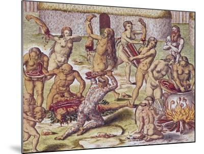 """Dismembering and Cooking an Enemy, from """"Americae Tertia Pars.."""", 1562-Theodor de Bry-Mounted Giclee Print"""