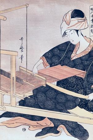 Woman Weaving-Kitagawa Utamaro-Stretched Canvas Print