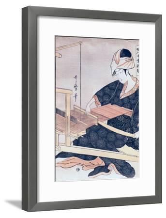Woman Weaving-Kitagawa Utamaro-Framed Giclee Print