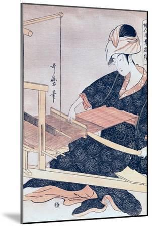 Woman Weaving-Kitagawa Utamaro-Mounted Giclee Print