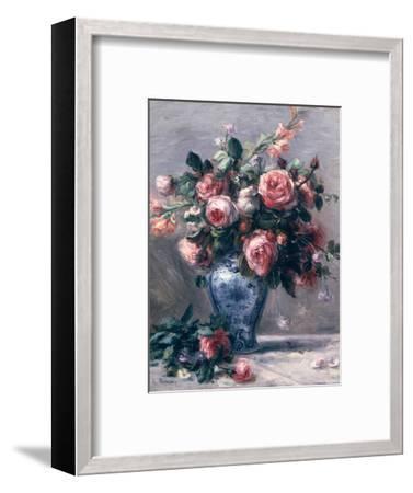 Vase of Roses-Pierre-Auguste Renoir-Framed Premium Giclee Print