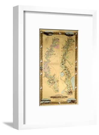 Map Depicting Plantations on the Mississippi River from Natchez to New Orleans, 1858--Framed Premium Giclee Print
