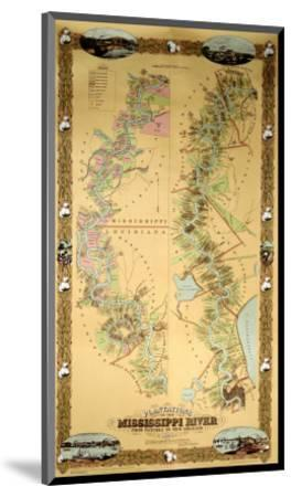 Map Depicting Plantations on the Mississippi River from Natchez to New Orleans, 1858--Mounted Premium Giclee Print