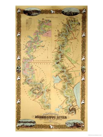 Map Depicting Plantations on the Mississippi River from Natchez to New Orleans, 1858--Giclee Print