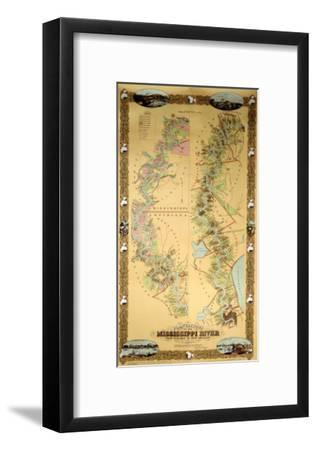 Map Depicting Plantations on the Mississippi River from Natchez to New Orleans, 1858--Framed Giclee Print
