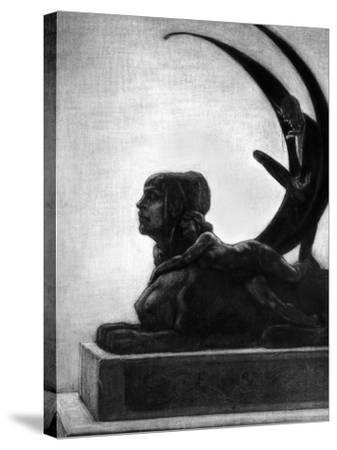 """Sphinx, Illustration from """"Les Diaboliques"""" by Jules Amedee Barbey D'Aurevilly 1874-Felicien Rops-Stretched Canvas Print"""