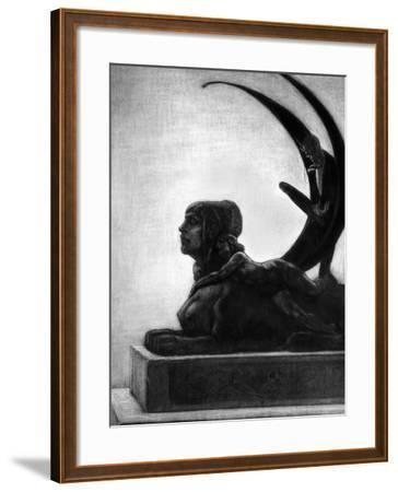 """Sphinx, Illustration from """"Les Diaboliques"""" by Jules Amedee Barbey D'Aurevilly 1874-Felicien Rops-Framed Giclee Print"""