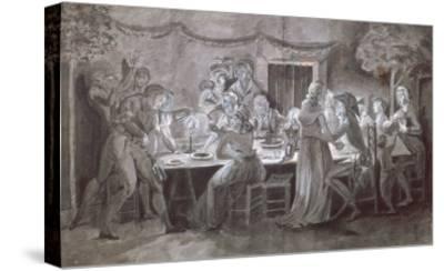 An Evening Wedding Meal-Jacques Bertaux-Stretched Canvas Print