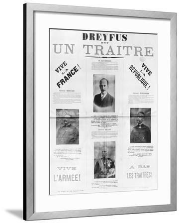 Dreyfus Est Un Traitre, Poster with the Portraits of His Detractors, Late 19th Century--Framed Giclee Print