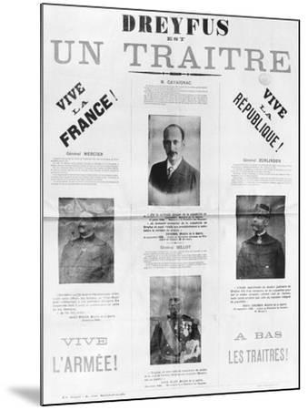 Dreyfus Est Un Traitre, Poster with the Portraits of His Detractors, Late 19th Century--Mounted Giclee Print