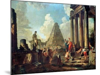 Alexander III the Great Before the Tomb of Achilles-Giovanni Paolo Pannini-Mounted Giclee Print