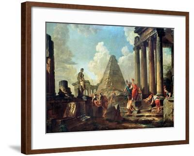 Alexander III the Great Before the Tomb of Achilles-Giovanni Paolo Pannini-Framed Giclee Print