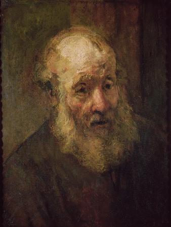 Head of an Old Man, circa 1650-Rembrandt van Rijn-Stretched Canvas Print