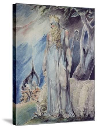 Moses and the Burning Bush-William Blake-Stretched Canvas Print