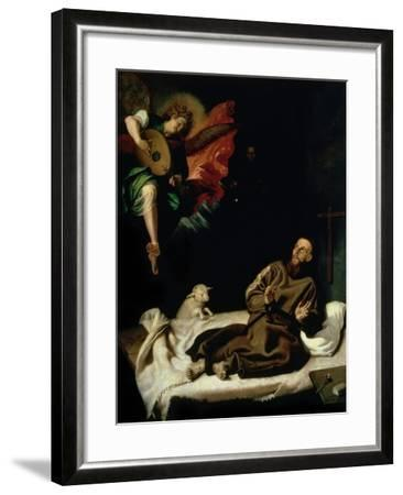 St. Francis Comforted by an Angel Musician-Francisco Ribalta-Framed Giclee Print