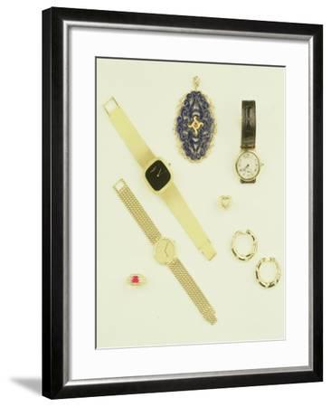 Selection of Jewellery: Sodalite Pendant; Pave-Set Diamond Ring; Creole Earrings by Cartier--Framed Giclee Print