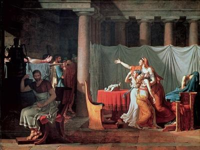 Lictors Bearing to Brutus the Bodies of His Sons, 1789-Jacques-Louis David-Framed Giclee Print