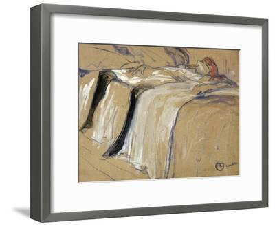"Woman Lying on Her Back - Lassitude, Study for ""Elles"", 1896-Henri de Toulouse-Lautrec-Framed Giclee Print"