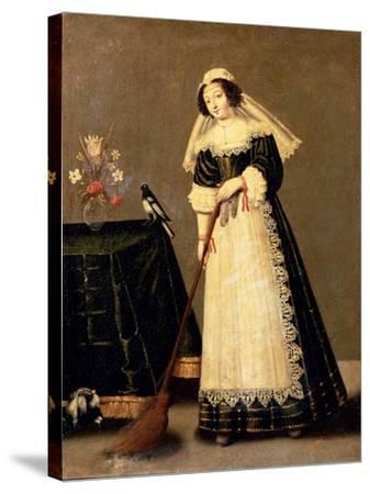 A Maid with a Broom--Stretched Canvas Print