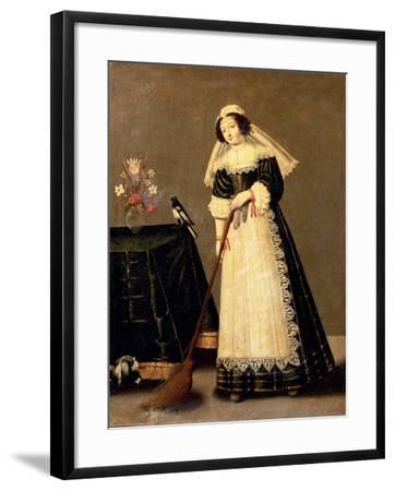 A Maid with a Broom--Framed Giclee Print