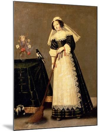 A Maid with a Broom--Mounted Giclee Print