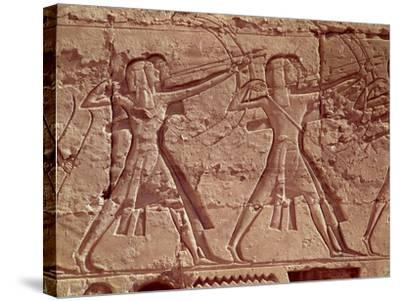 Archers, Detail from the Hunt of Ramesses III from the Mortuary Temple of Ramesses III, New Kingdom--Stretched Canvas Print