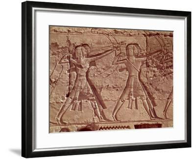 Archers, Detail from the Hunt of Ramesses III from the Mortuary Temple of Ramesses III, New Kingdom--Framed Giclee Print
