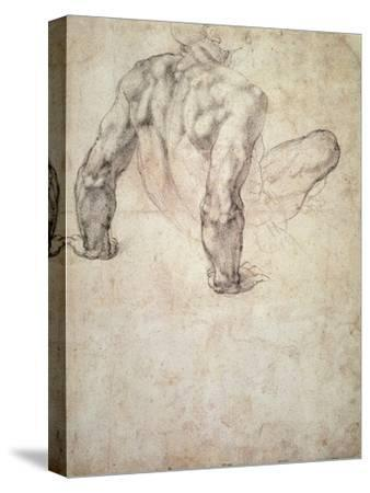 W.63R Study of a Male Nude, Leaning Back on His Hands-Michelangelo Buonarroti-Stretched Canvas Print