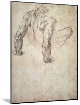 W.63R Study of a Male Nude, Leaning Back on His Hands-Michelangelo Buonarroti-Mounted Giclee Print