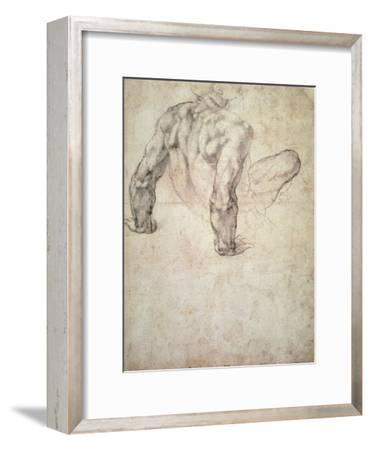 W.63R Study of a Male Nude, Leaning Back on His Hands-Michelangelo Buonarroti-Framed Giclee Print