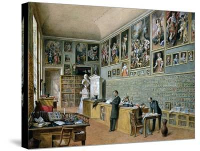 The Library, in Use as an Office of the Ambraser Gallery in the Lower Belvedere, 1879-Carl Goebel-Stretched Canvas Print