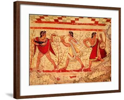 Etruscan Musicians, Copy of a 5th Century BC Fresco in the Tomb of the Leopard at Tarquinia--Framed Giclee Print