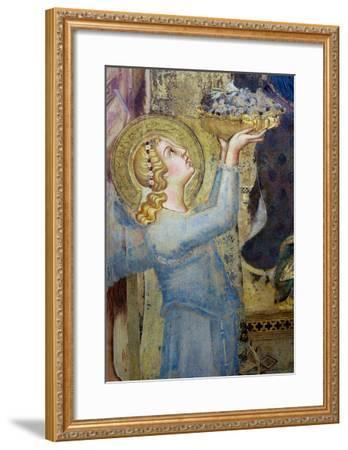 Maesta: Angel Offering Flowers to the Virgin, 1315-Simone Martini-Framed Giclee Print