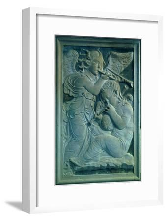 Two Putti, One Playing the Cornamuse, the Other Playing the Trumpet circa 1450--Framed Giclee Print