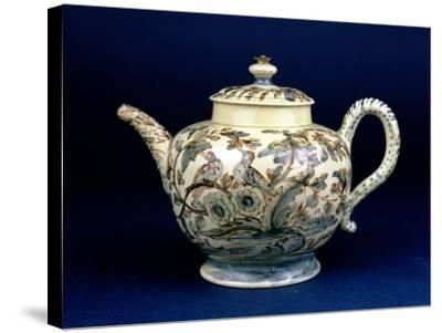 """Staffordshire Creamware Teapot Known as """"The Tunstall Teapot"""" with Three Birds in Foliage, 1743--Stretched Canvas Print"""