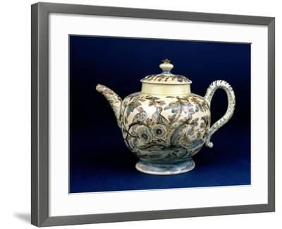 """Staffordshire Creamware Teapot Known as """"The Tunstall Teapot"""" with Three Birds in Foliage, 1743--Framed Giclee Print"""