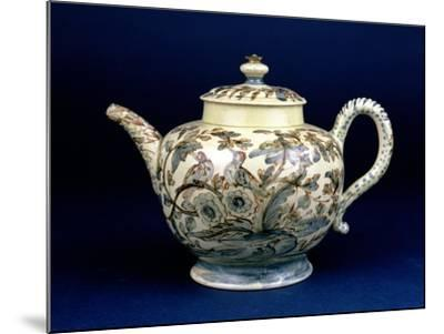 """Staffordshire Creamware Teapot Known as """"The Tunstall Teapot"""" with Three Birds in Foliage, 1743--Mounted Giclee Print"""