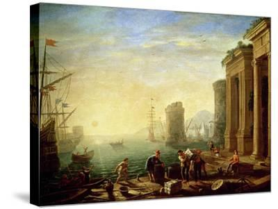 Morning at the Port, 1640-Claude Lorraine-Stretched Canvas Print