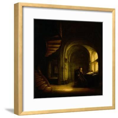 Philosopher with an Open Book, 1625-7-Rembrandt van Rijn-Framed Giclee Print