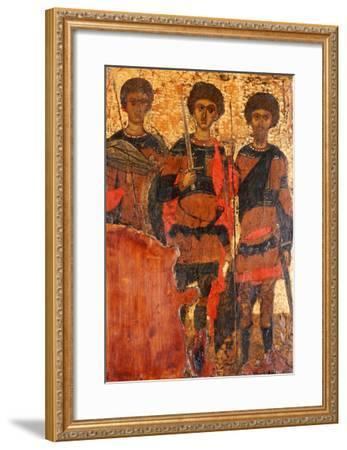 Small Byzantine Icon of Three Warrior Saints Depicting Saints George, Dimitri and Theodore c. 1400--Framed Giclee Print