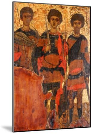 Small Byzantine Icon of Three Warrior Saints Depicting Saints George, Dimitri and Theodore c. 1400--Mounted Giclee Print