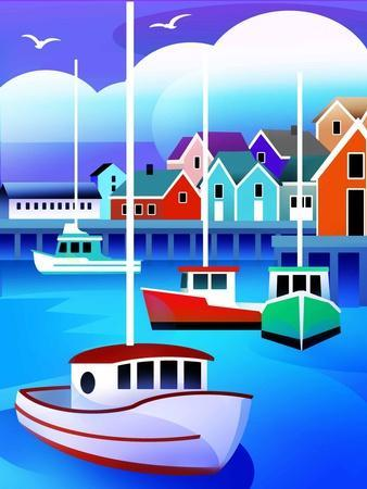 Harbor with Fishing Boats--Stretched Canvas Print